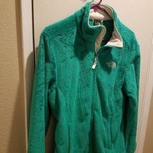 Kelly Green Fuzzy North Face Jacket